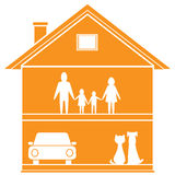 Cottage symbol with house and happy family Stock Image