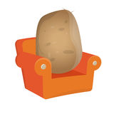 Isolated couch potato. Funny illustration of a couch potato Stock Photo