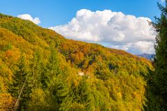 Isolated country house with trees with autumn colors in Italy stock photography