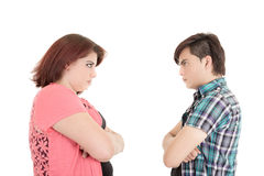 Isolated couple angry at each other Stock Photo