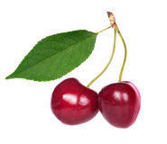 Isolated couple of red cherries with leaf. Red sweet cherry isolated on white background Royalty Free Stock Photography
