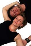 Isolated couple sleeping. A sleeping couple isolated on white stock photos