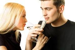 Isolated couple toasting Stock Image