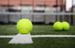 Isolated in court paddle tennis balls Stock Image