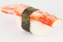 Isolated crab kani sushi nigiri with nori on white background Royalty Free Stock Photos