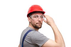 Isolated craftsman construction worker assembler workmen - frien. Dly worker in working clothes on white background Stock Image