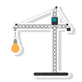 Isolated crane holding light bulb design Stock Photos