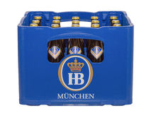 Isolated crate with bottles of classic German traditional Bavari Royalty Free Stock Photography
