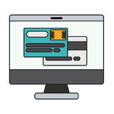 Isolated credit card and computer design Stock Images