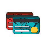 Isolated credit card of money concept. Credit card icon. Money financial item commerce and market theme. Isolated design. Vector illustration Stock Photography
