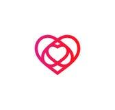 Isolated crimson abstract monoline heart logo. Love logotypes.   Royalty Free Stock Photo