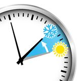 Cropped Silver Clock Winter Time Snowflake And Sun royalty free illustration