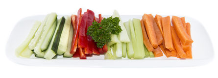 Isolated Crudites. Crudites (Celery, Carrot, Cucumber and Red Pepper) isolated on white Stock Photography