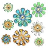 Isolated crystal snowflake blooms. Isolated glass flower snowflake blooms on white Stock Image