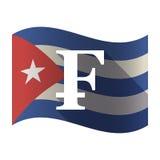 Isolated Cuba flag with a swiss franc sign Stock Photos