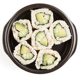 Isolated Cucumber and Avocado Rolls Stock Photo