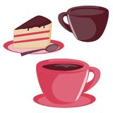 Isolated cup and cake set Royalty Free Stock Photo