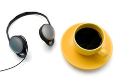 Isolated cup ofr coffee. Isolated cup of coffee with headphones Stock Images