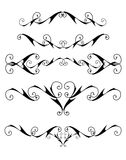 Isolated curly design elements. Black design elements isolated on white stock illustration