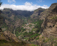 Isolated Curral das Freiras village, Madeira. Remote and isolated village of Curral das Freiras inside steep isolated valley. Madeira, Portugal Royalty Free Stock Image