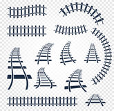 Isolated curvy and straight rails set, railway top view collection, ladder elements vector illustrations on white Royalty Free Stock Image