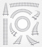 Isolated curvy and straight rails set, railway top view collection, ladder elements vector illustrations on white. Background Royalty Free Stock Images