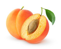 Isolated cut apricots Royalty Free Stock Photography