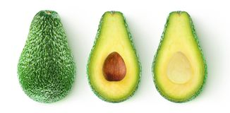 Isolated cut avocado stock image