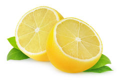 Isolated cut lemon stock photography