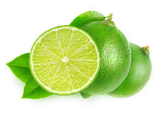 Isolated cut limes stock photo