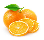 Isolated cut oranges Royalty Free Stock Photos