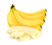Isolated cut peeled banana bunch. Isolated cut peeled bananas. Bunch of bananas isolated on white background with clipping path Stock Photo