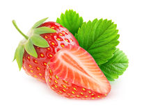 Isolated cut strawberries royalty free stock photos