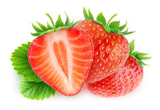 Isolated cut strawberries stock photography