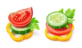 Isolated vegetable slices Stock Image