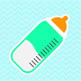 Isolated cute baby bottle. On a colored background - Vector stock illustration
