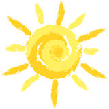 Isolated Cute Crayon Sun, Vector Image Stock Images