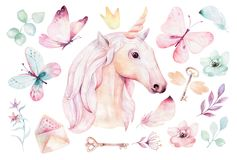 Isolated cute watercolor unicorn clipart with flowers. Nursery unicorns illustration. Princess rainbow poster. Trendy