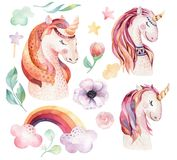 Isolated cute watercolor unicorn clipart with flowers. Nursery unicorns illustration. Princess rainbow poster. Trendy. Isolated cute watercolor unicorn clipart Stock Photos