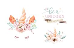 Isolated cute watercolor unicorn clipart with flowers. Nursery unicorns illustration. Princess rainbow poster. Trendy. Isolated cute watercolor unicorn clipart stock illustration