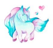 Isolated cute watercolor unicorn clipart. Nursery unicorns illustration. Princess unicorns poster. Royalty Free Stock Image
