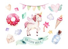 Isolated cute watercolor unicorn clipart. Nursery unicorns illustration. Princess rainbow unicorns poster. Trendy pink Royalty Free Stock Image