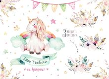 Isolated cute watercolor unicorn clipart. Nursery unicorns illustration. Princess rainbow unicorns poster. Trendy pink. Isolated cute watercolor unicorn clipart royalty free illustration