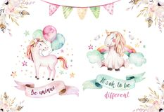 Isolated cute watercolor unicorn clipart. Nursery unicorns illustration. Princess rainbow unicorns poster. Trendy pink stock illustration