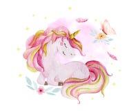 Isolated cute watercolor unicorn and flowers clipart. Nursery unicorns illustration. Princess unicorns poster. Trendy
