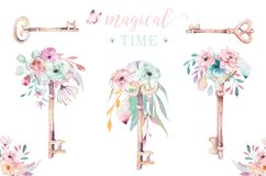 Isolated cute watercolor unicorn keys clipart with flowers. Nursery unicorns key illustration. Princess rainbow poster. Pink magic poster stock illustration