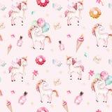 Isolated cute watercolor unicorn pattern. Nursery rainbow unicorns aquarelle. Princess unicornscollection. Trendy pink. Isolated cute watercolor unicorn pattern Royalty Free Stock Photography