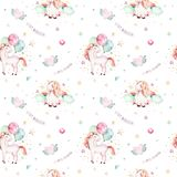 Isolated cute watercolor unicorn pattern. Nursery rainbow unicorns aquarelle. Princess unicornscollection. Trendy pink. Isolated cute watercolor unicorn pattern Royalty Free Stock Photo
