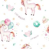 Isolated cute watercolor unicorn pattern. Nursery rainbow unicorns aquarelle. Princess unicornscollection. Trendy pink. Isolated cute watercolor unicorn pattern Royalty Free Stock Image