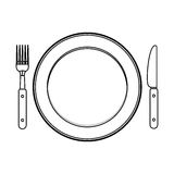 Isolated cutlery and plate design. Cutlery and plate icon. Dishware food restaurant and meal theme. Isolated design. Vector illustration Royalty Free Stock Photography